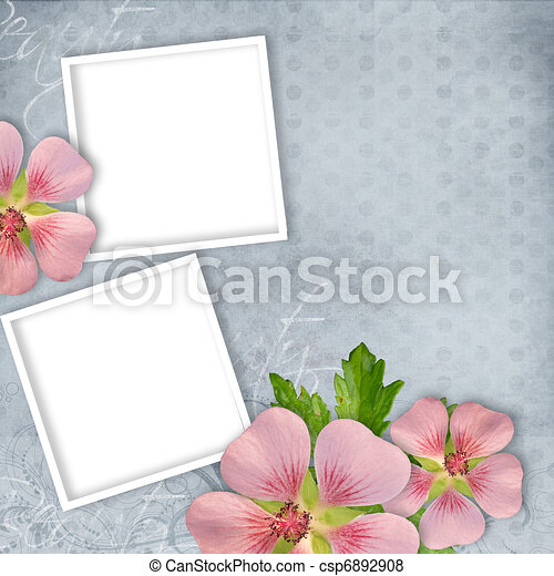 Card for invitation or congratulation with pink flowers - csp6892908