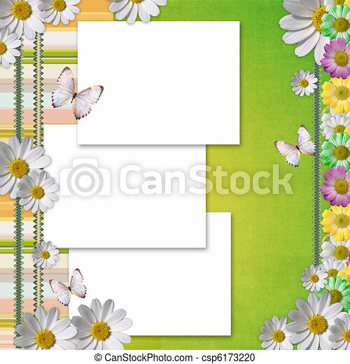 Card for the holiday with flowers - csp6173220