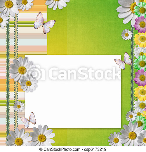 Card for the holiday with flowers - csp6173219