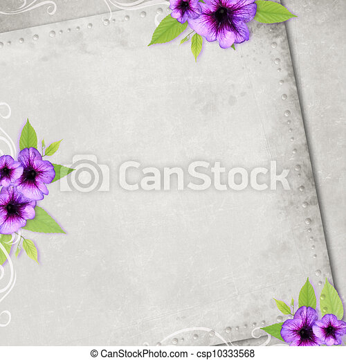 Card for the holiday with flowers on the abstract background - csp10333568
