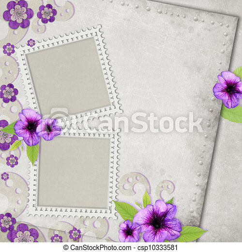 Card for the holiday with flowers on the abstract background - csp10333581