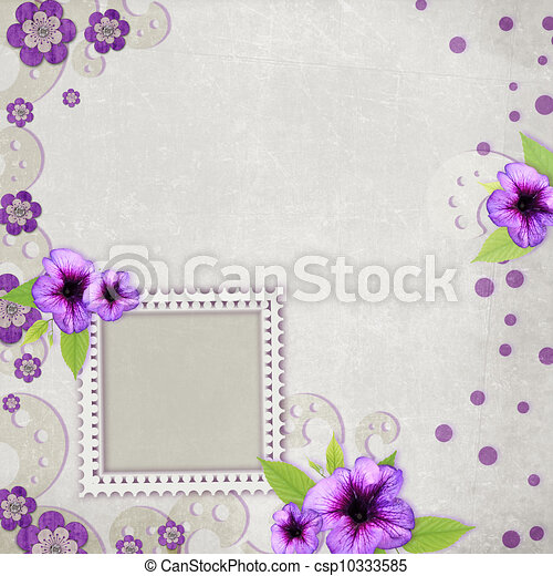 Card for the holiday with flowers on the abstract background - csp10333585
