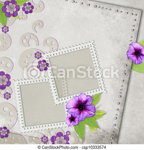 Card for the holiday with flowers on the abstract background - csp10333574