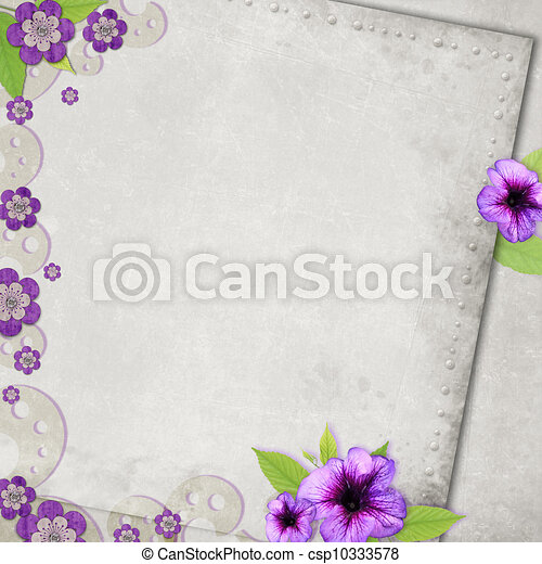 Card for the holiday with flowers on the abstract background - csp10333578