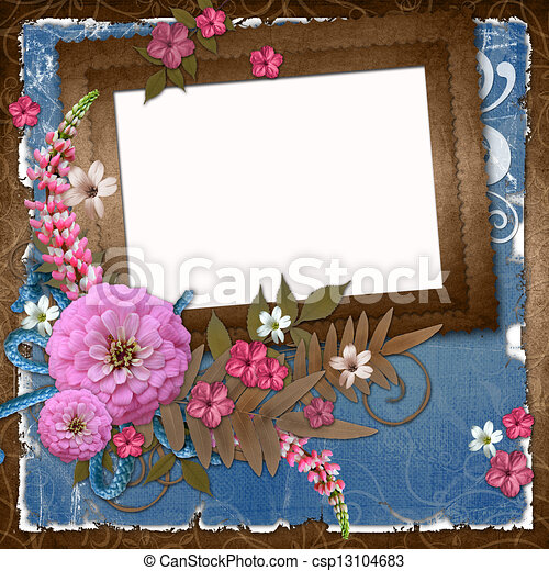 Card for the holiday with flowers  - csp13104683