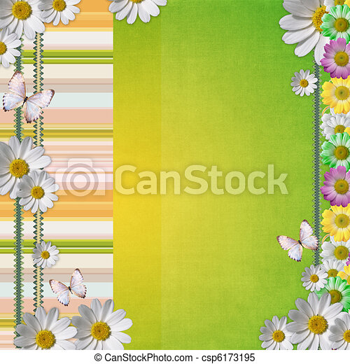 Card for the holiday with flowers - csp6173195