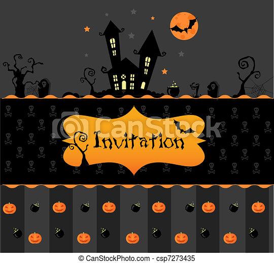 Card halloween invitation vector halloween invitation card with card halloween invitation csp7273435 stopboris Choice Image
