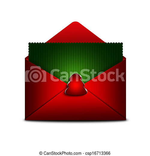 card in envelope with place for text over white background - csp16713366