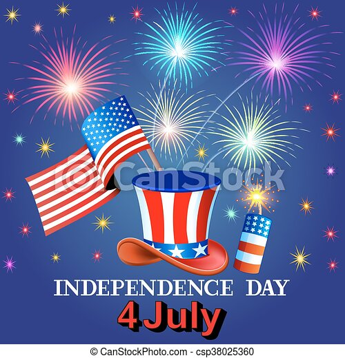 card independence day with fireworks hat and the flag of america csp38025360