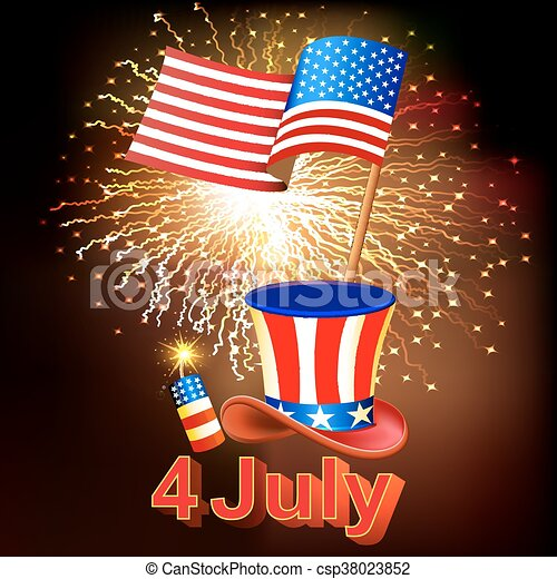 card independence day with fireworks hat and the flag of america csp38023852