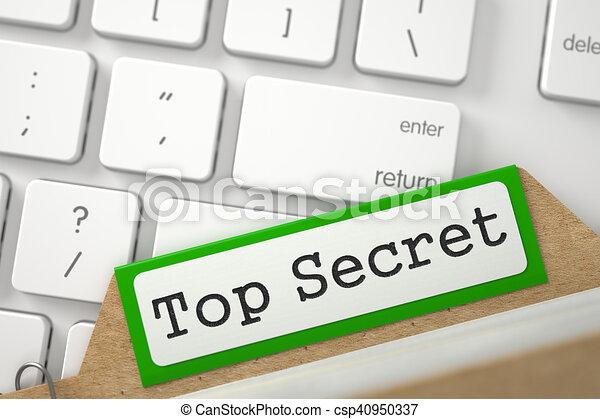 Card Index with Top Secret. 3D. - csp40950337