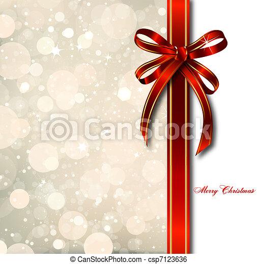 Roter Bogen auf einer magischen Weihnachtskarte. Vector - csp7123636