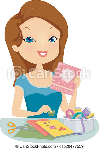 Card Making Illustration Of A Pretty Woman Making Personalized Cards