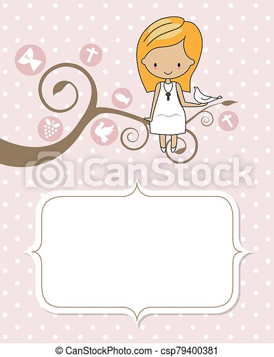 Card my first communion. Girl sitting on a tree with a dove - csp79400381