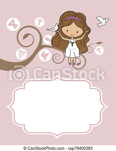 Card my first communion. Girl sitting on a tree with a dove - csp79400383
