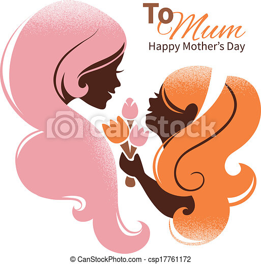 Card of Happy Mother's Day. Beautiful mother silhouette with her daughter and flowers - csp17761172