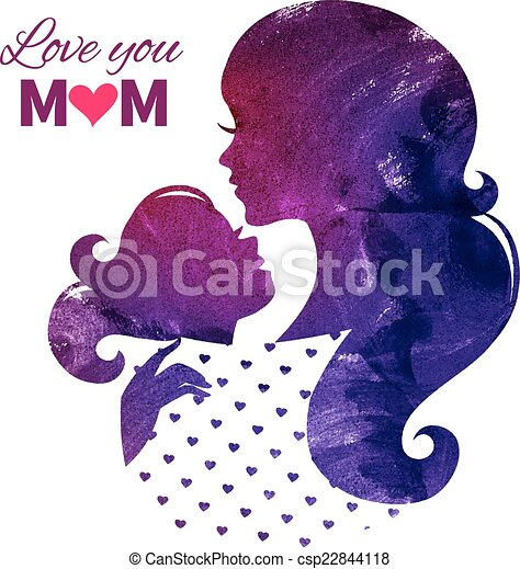 Card of Happy Mothers Day. Beautiful mother silhouette  - csp22844118
