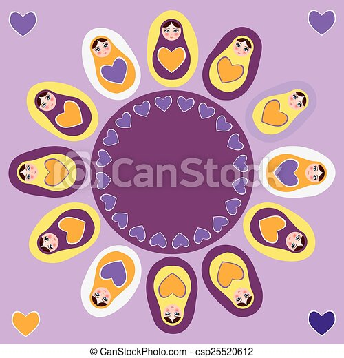 Card orange Russian dolls matryoshka on a purple background. Vector - csp25520612