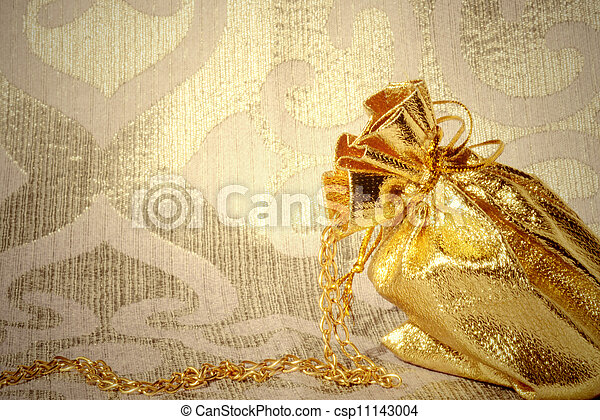 card, sack with gold jewelry - csp11143004