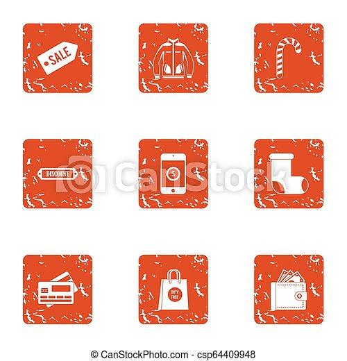 Card sale icons set, grunge style - csp64409948