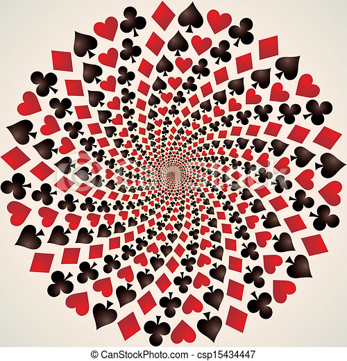 Card suit. Playing cards. Op art - csp15434447
