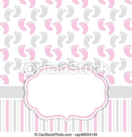 card template with baby girl footprints baby girl shower vector