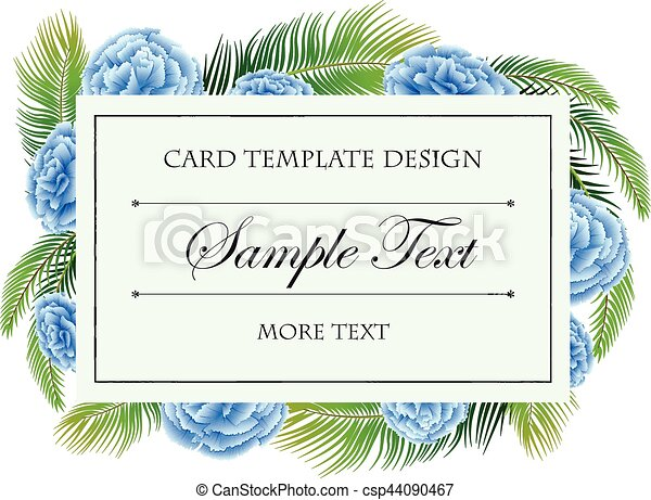 Card template with blue flowers frame - csp44090467