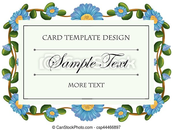 Card template with blue flowers frame - csp44466897