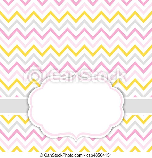 Card template with chevron background. baby girl shower vector ...