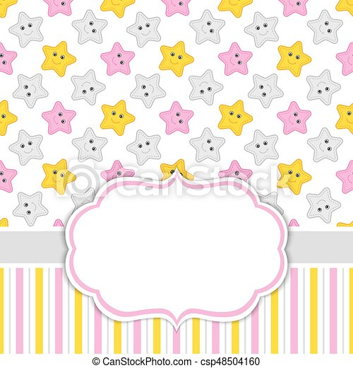 Card Template With Stars Background Baby Girl Shower Vector Illustration