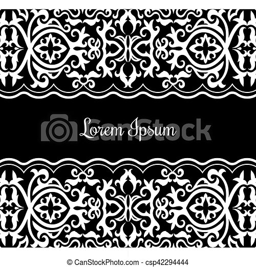Card template with white lace on black background. vector illustration.