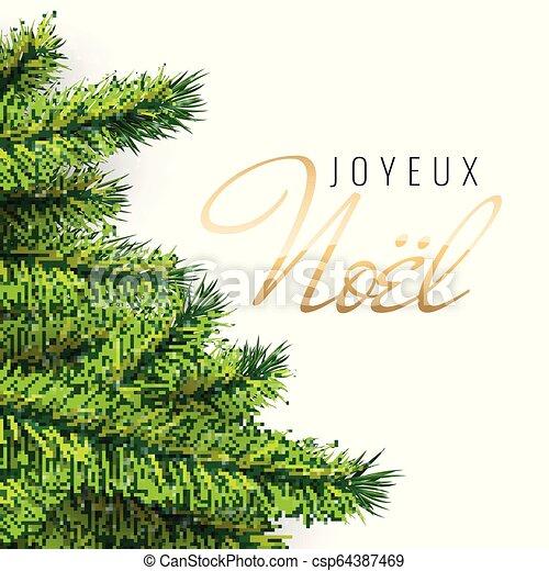 Texto francés Joyeux noel. Feliz Navidad. - csp64387469