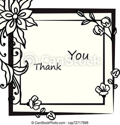 Card thank you, with pattern of leaf floral frame. Vector - csp72717898