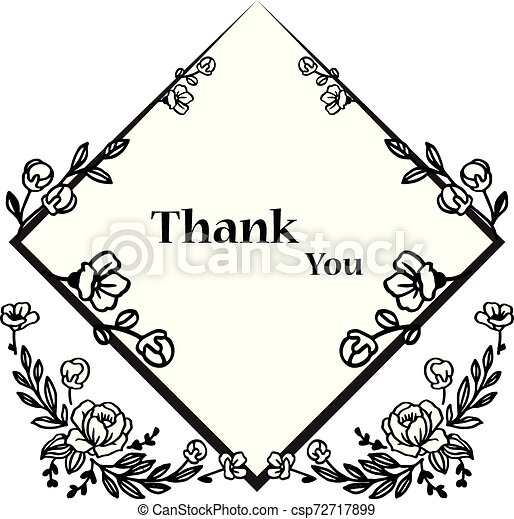Card thank you, with pattern of leaf floral frame. Vector - csp72717899