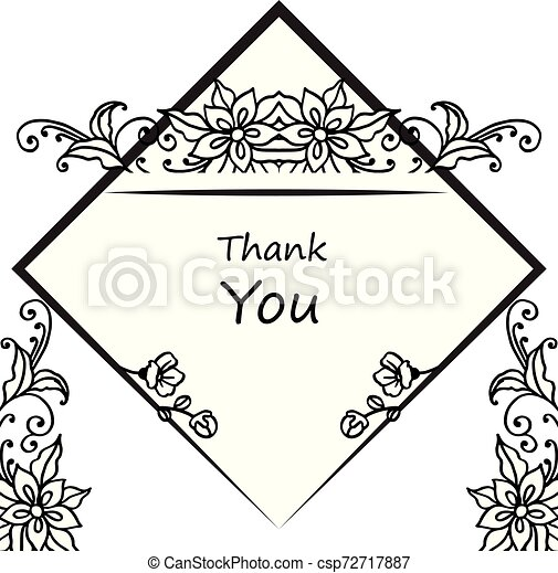 Card thank you, with pattern of leaf floral frame. Vector - csp72717887