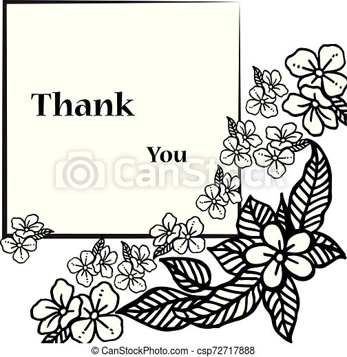Card thank you, with pattern of leaf floral frame. Vector - csp72717888
