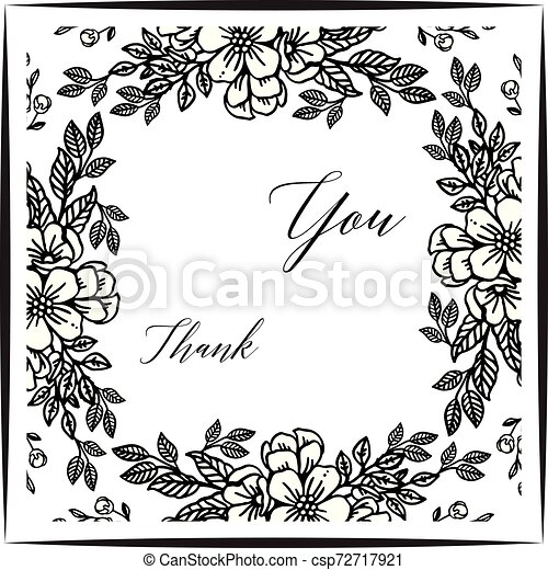 Card thank you, with pattern of leaf floral frame. Vector - csp72717921