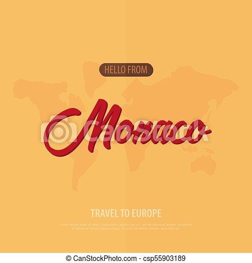 Hola desde Mónaco. Viaja a Francia. Tarjeta de felicitación turística. Ilustración de vectores. - csp55903189