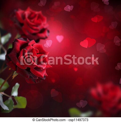 card., valentine, róże, ślub, serca, albo - csp11497373
