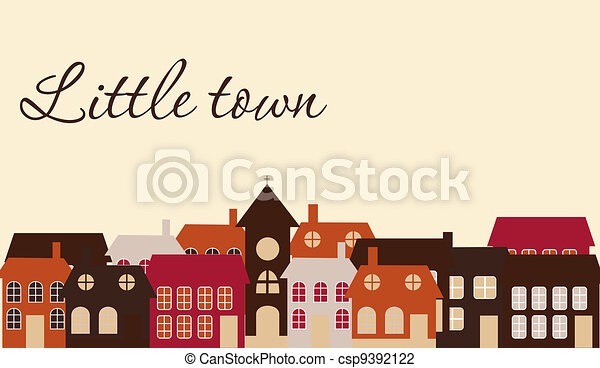 Card with a beautiful little  town. Vector illustration - csp9392122