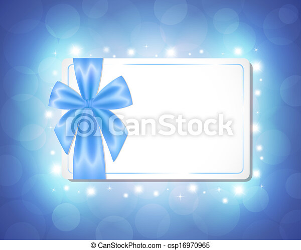 Card with a blue ribbon - csp16970965