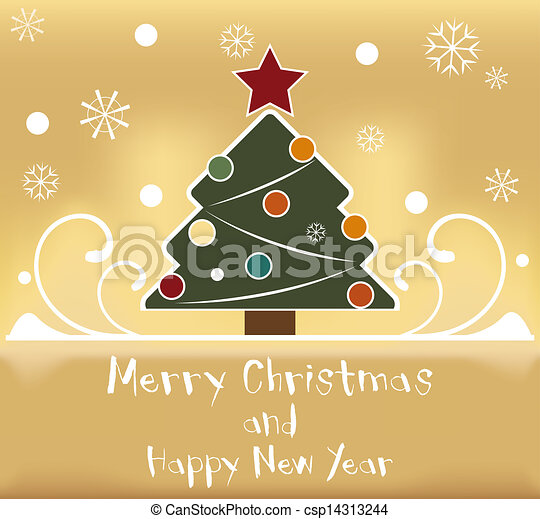 Card with a Christmas tree - csp14313244