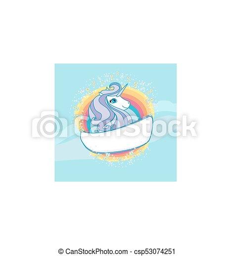 Card with a cute unicorn rainbow - csp53074251