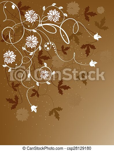 Card with abstract flowers and place for text - csp28129180