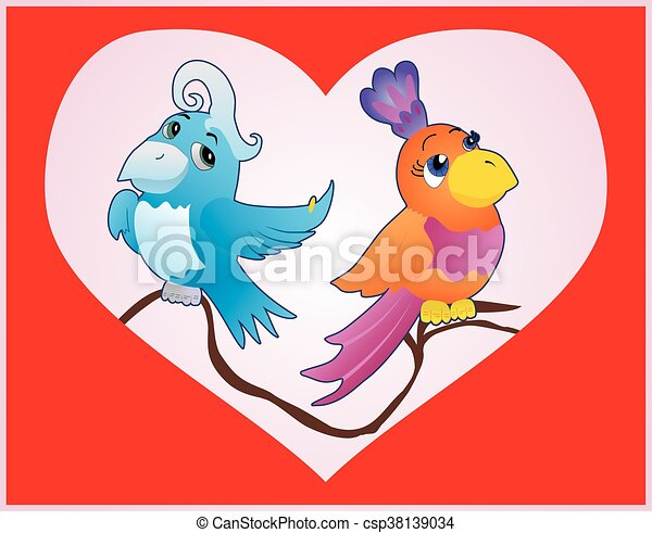 card with birds in love - csp38139034