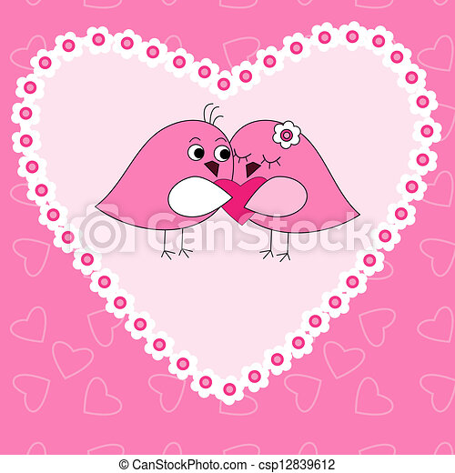 Card with birds in love - csp12839612
