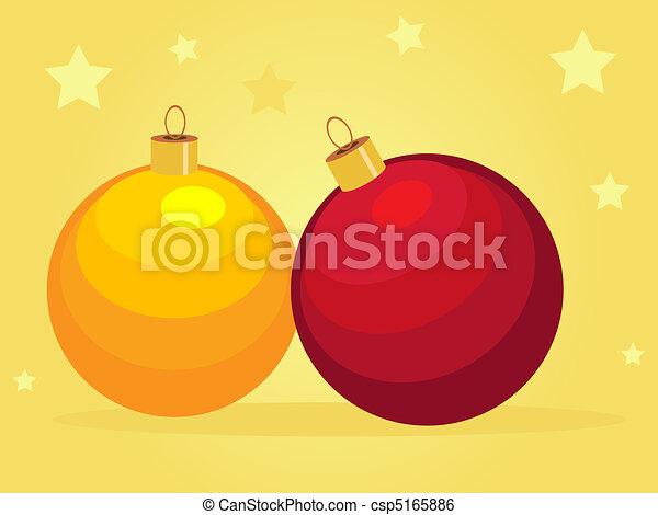 Card with cartoon Christmas balls - csp5165886