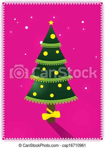 Card with Christmas tree - csp16710961