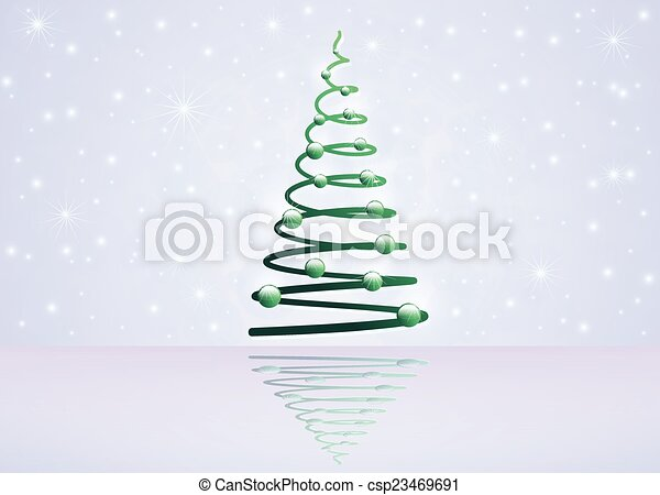 Card with Christmas tree - csp23469691