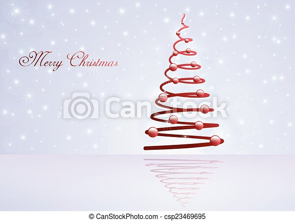 Card with Christmas tree - csp23469695